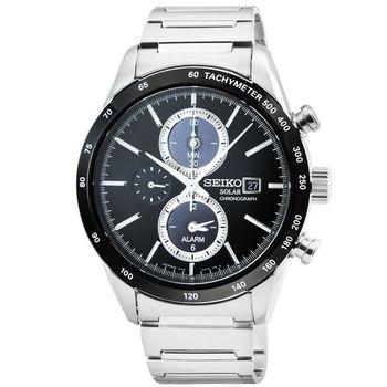 SEIKO 精工 SPIRIT 太陽能鬧鈴雙時區三眼賽車鋼帶錶-黑 / SBPY119