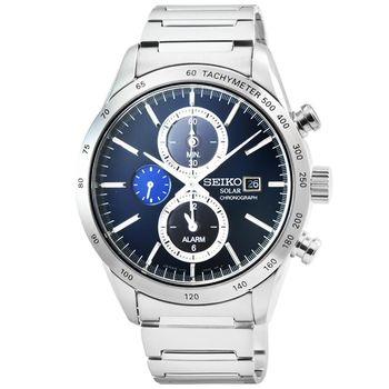 SEIKO 精工 SPIRIT 太陽能鬧鈴雙時區三眼賽車鋼帶錶-藍 / SBPY115