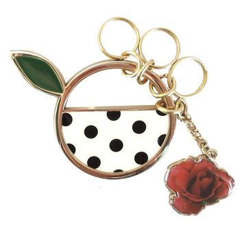 agnes b.點點圓圈玫瑰鑰匙圈(黑)