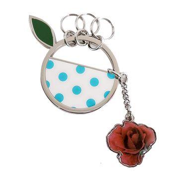 agnes b.點點圓圈玫瑰鑰匙圈(藍)