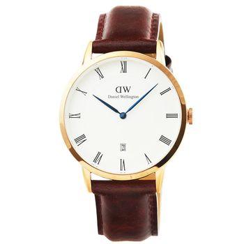 DW Daniel Wellington 簡約時尚腕錶-平滑紋咖啡色皮帶金框34mm / 1130DW