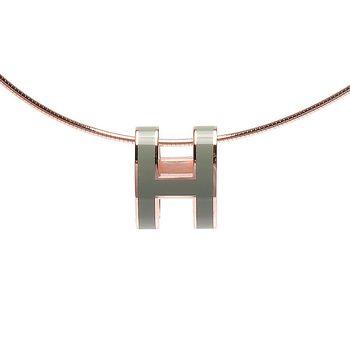 HERMES 經典立體H LOGO簍空橢圓項鍊 (玉石綠X玫瑰金)