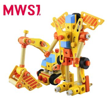 【MWSJ】木製百變組合挖土機積木