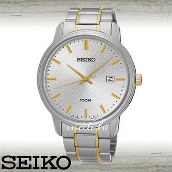 【SEIKO 精工】平價時尚_不鏽鋼錶帶_按壓式折疊錶扣_防水_日期顯示_男錶(SUR197P1)