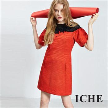 【ICHE 衣哲】立體3D蕾絲提花拼接禮服洋裝