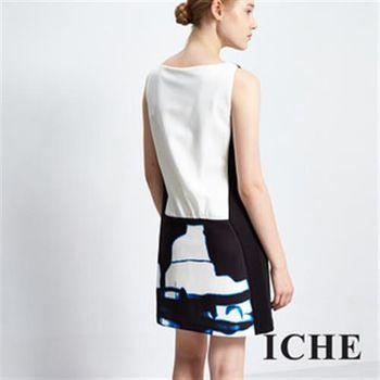 【ICHE 衣哲】暈染印花拼接造型洋裝