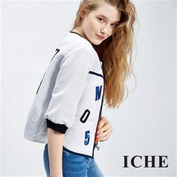 【ICHE 衣哲】字母細條紋造型夾克外套