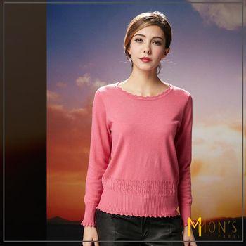 MONS蕾絲編織圓領極暖羊絨毛衣