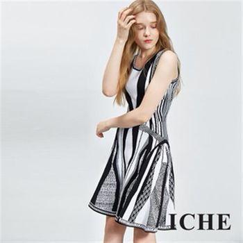 【ICHE 衣哲】繃帶傘擺印花顯瘦洋裝