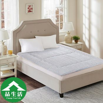 【品生活】5cm日式床墊(單人加大3.5X6.2尺)-紅藍格子