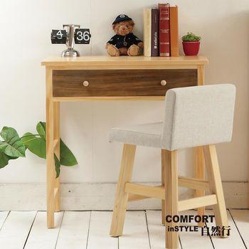 CiS自然行實木家具 書桌-電腦桌-化妝桌-邊桌W80cm(原木胡桃色)