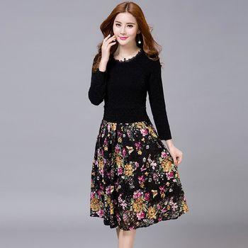 【理子時尚】氣質花邊領上衣拼接印花中長裙洋裝