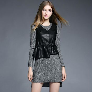 【M2M】PU皮背心不規則長袖連衣裙兩件套