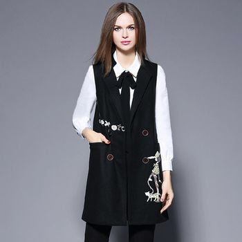 【M2M】時尚毛呢刺繡圖案背心式外套