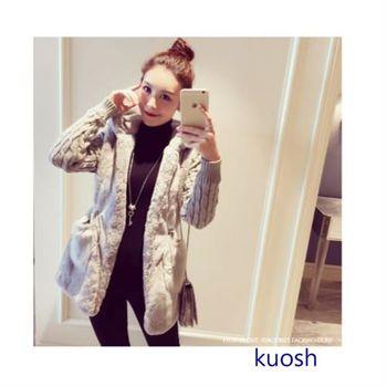 【KUOSH】韓版毛絨拼接家厚連帽外套(PT10515)
