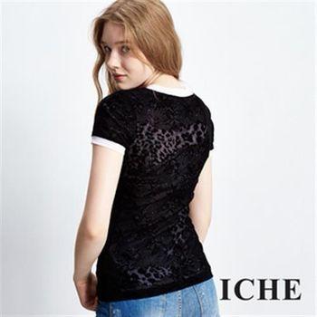 【ICHE 衣哲】蕾絲豹紋透視印花設計上衣