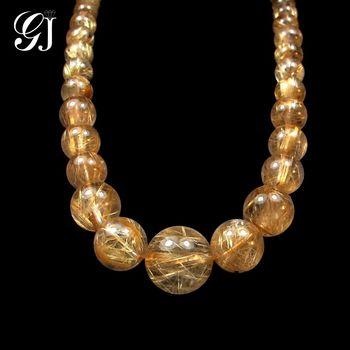 [晉佳珠寶] Gemdealler Jewellery 稀有珍藏 金黃板絲  天然鈦晶項鍊 67g