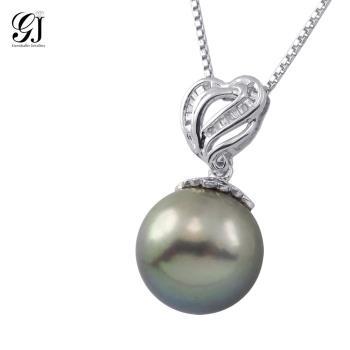 [晉佳珠寶] Gemdealler Jewellery  天然大溪地愛心鑽石黑珍珠墜飾12.5mm