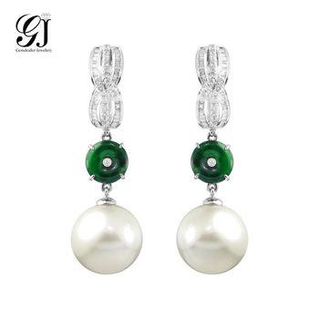 [晉佳珠寶] Gemdealler Jewellery 女人專屬 獨特珍藏 天然南洋珍珠翡翠鑽石耳環 13mm