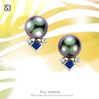 [晉佳珠寶] Gemdealler Jewellery 女人專屬 獨特珍藏 天然大溪珍珠藍寶耳環 9.2mm