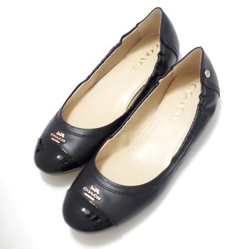 COACH 新款立體LOGO平底娃娃鞋-黑色