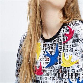 【ICHE 衣哲】馬賽克印花拼貼造型七分袖上衣