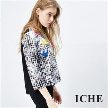 【ICHE 衣哲】馬賽克印花拼貼造型七分袖上衣(七分袖)