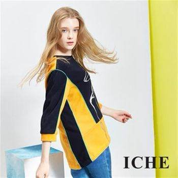 【ICHE 衣哲】色塊拼接印花七分袖上衣(七分袖)