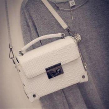 【米蘭精品】肩背包鏈條手提包時尚流行迷你鱷魚紋4色73fc26