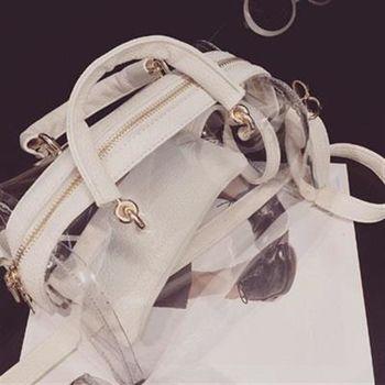 【米蘭精品】肩背包子母包手提包韓版簡約透明果凍包3色73fc64