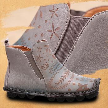 [背叛風情]真皮圓頭短靴牛皮休閒平底靴花朵復古民族風女靴T16CXZ31603