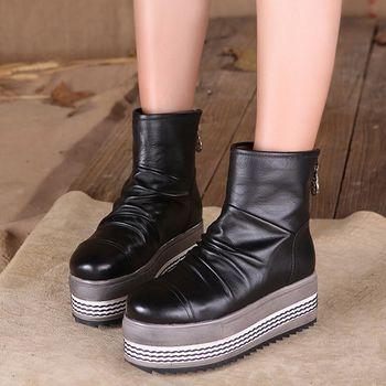 [背叛風情] 厚底真皮女靴民族風復古羊皮短靴圓頭平底靴防水台T16CXZ70083兩色