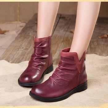[背叛風情] 新款牛皮短靴真皮休閒平底靴圓頭後拉鍊中跟女靴T16CXZ09651兩色