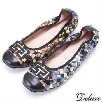 【Deluxe】全真皮手工編織氣質典雅娃娃鞋(藍☆咖啡)