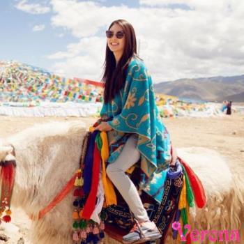 【Verona】民族風太陽花印花流蘇大披肩圍巾