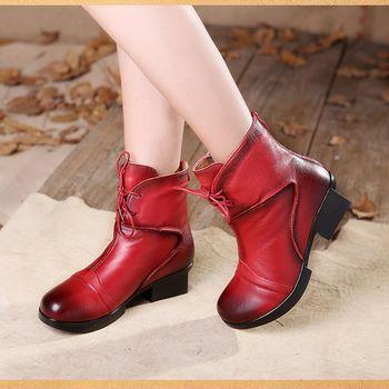 [背叛風情] 秋冬加厚款女士真皮短靴牛皮粗跟方根靴子拉鍊加絨女靴T16DXZ08819