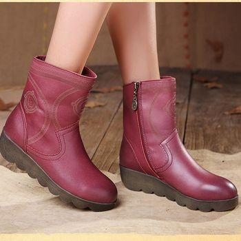 [背叛風情] 牛皮短靴秋季真皮休閒女靴圓頭側拉鍊厚底靴子T16CXZ09686兩色