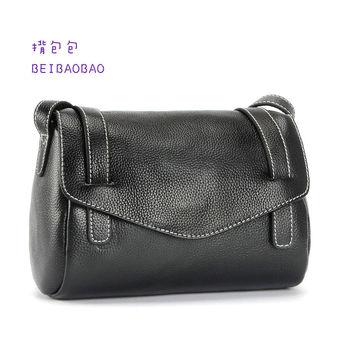 首爾時尚真皮側背包 (時尚黑 )