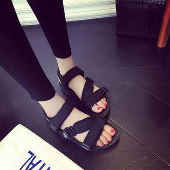 【SEIO】ulzzang百搭款 暗黑涼鞋zipper 魔鬼氈閃電斜角 男女可穿