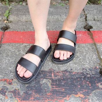 【SEIO】 zipper百搭雙條 黑色拖鞋 涼鞋 男女可穿 情侶鞋