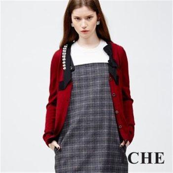 【ICHE 衣哲】羊毛釘珠蝴蝶結織帶外套