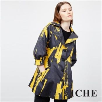 【ICHE 衣哲】線條刷色感大釦翻領風衣外套