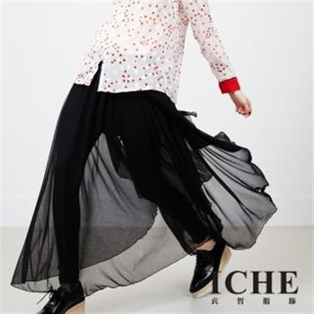 【ICHE 衣哲】假兩件拼接造型褲裙(All In Black)