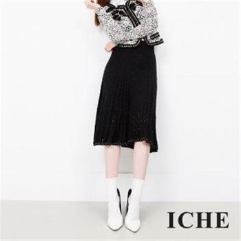 【ICHE 衣哲】羊毛蕾絲中長裙