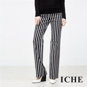 【ICHE 衣哲】直條紋直筒正裝褲