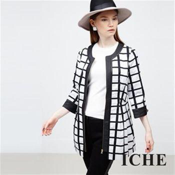 【ICHE 衣哲】方格線拼接撞色外套
