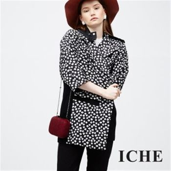 【ICHE 衣哲】天然絲印花版連帽外套