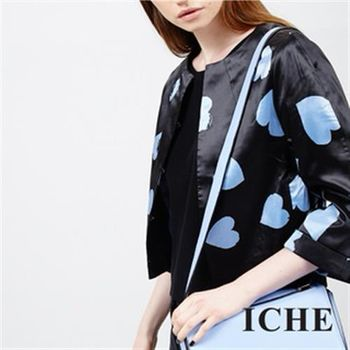 【ICHE 衣哲】心型點點短版外套