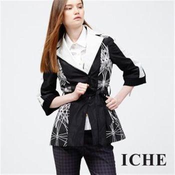 【ICHE 衣哲】幾何放射線條翻領外套