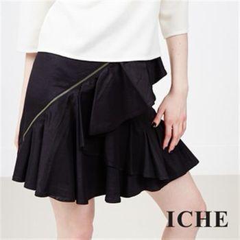 【ICHE 衣哲】抓皺多層次短裙